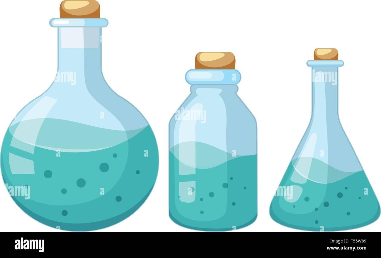 Set of liquid chemist sample illustration - Stock Vector