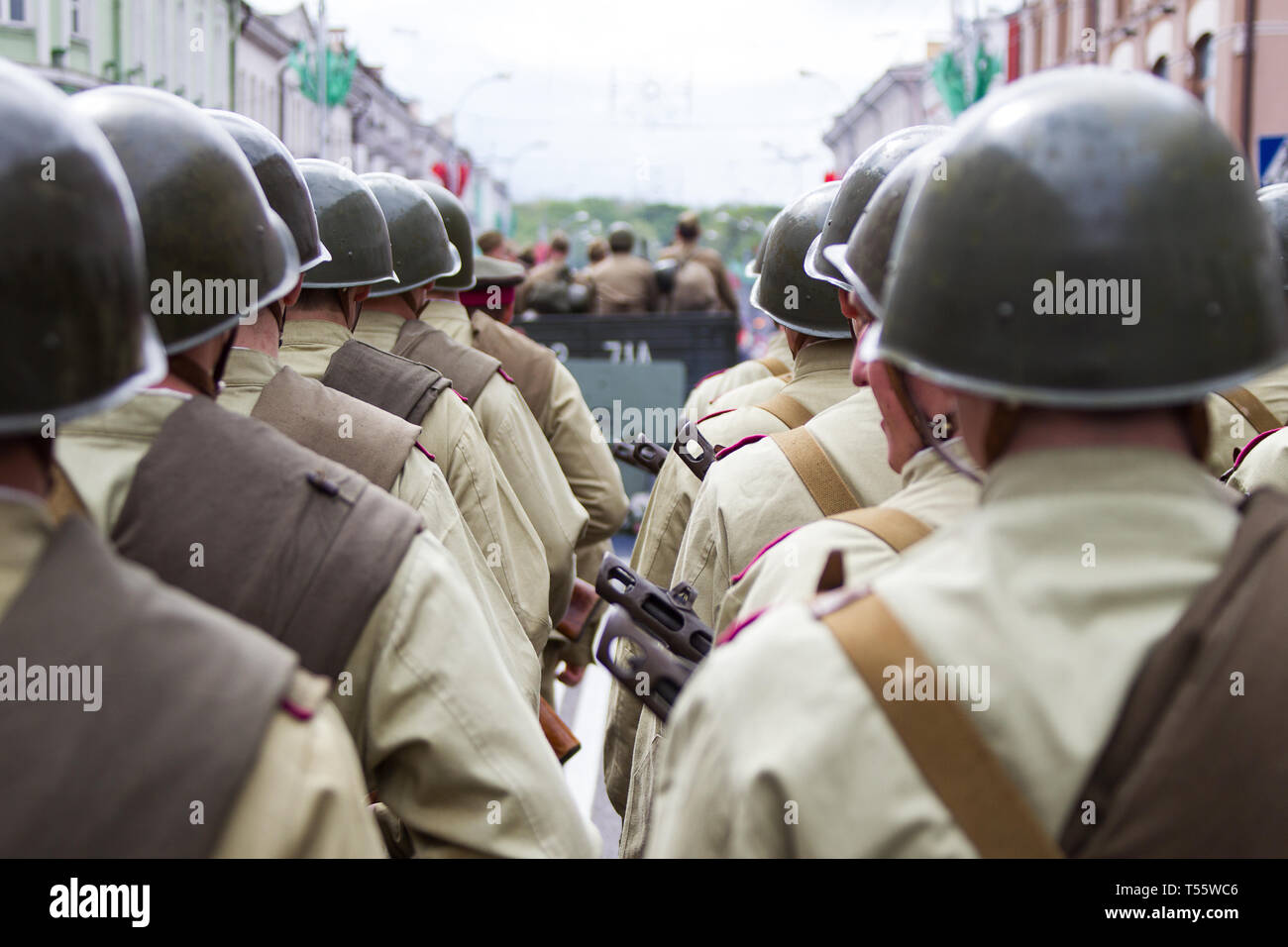 Belarus, Gomel, May 9, 2017. Victory Day. central Street.Soldiers of the Second World War in helmets Stock Photo