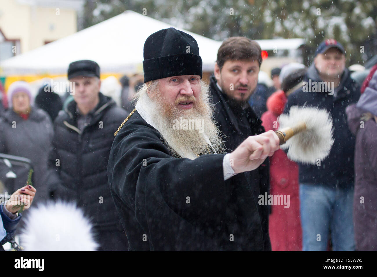 Belarus, Gomel, 19 January 2018.Day of the Cross Baptism.The priest sanctifies - Stock Image