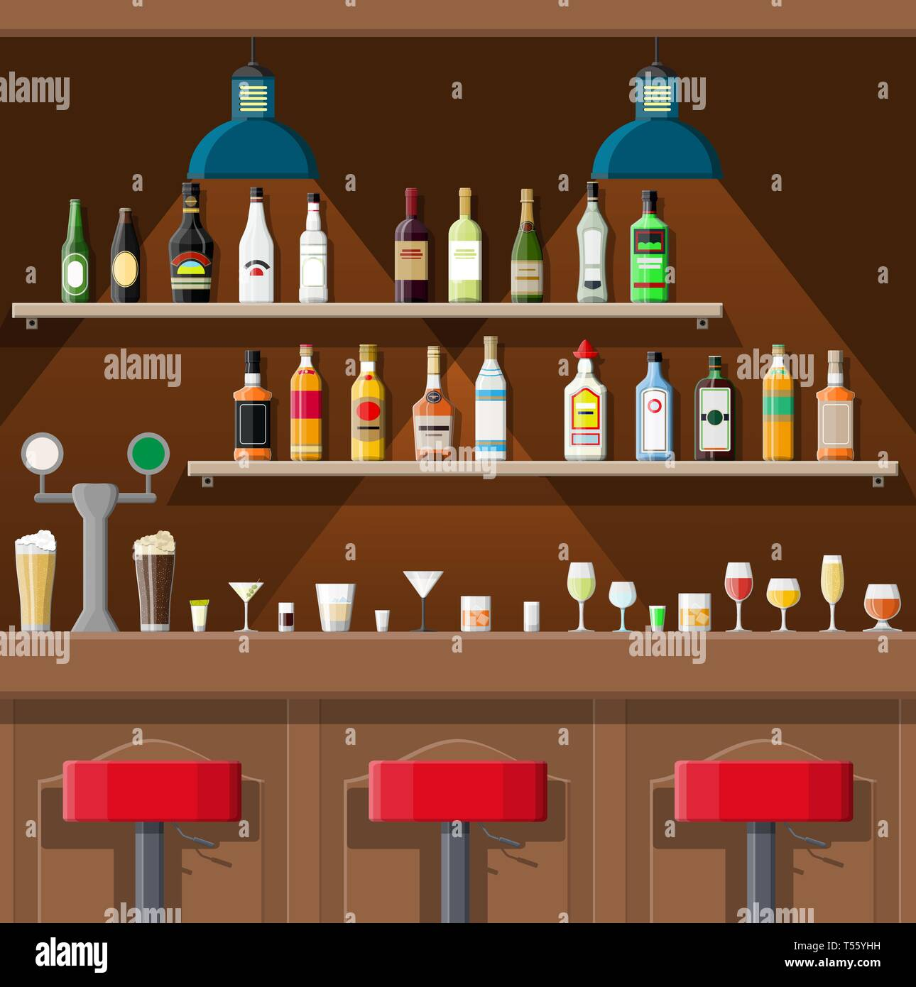Drinking establishment. Interior of pub, cafe or bar. Bar counter, chairs and shelves with alcohol bottles. Glasses, lamp. Wooden decor. Vector illust Stock Vector