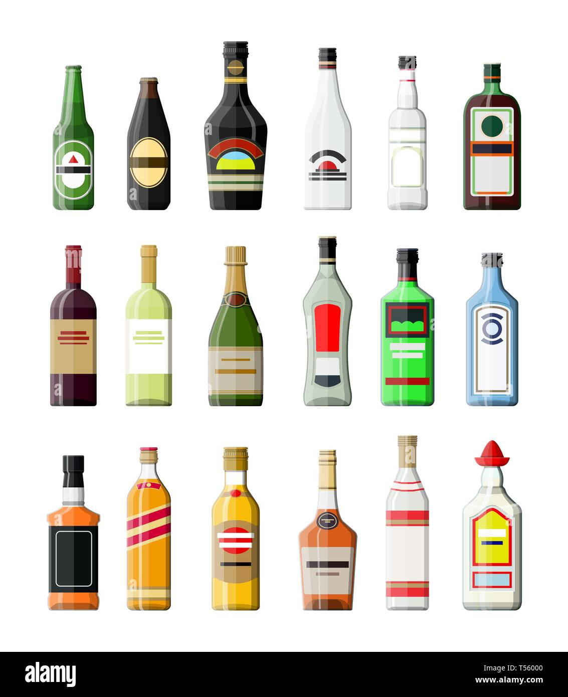 Alcohol drinks collection. Bottles with vodka champagne wine whiskey beer brandy tequila cognac liquor vermouth gin rum absinthe sambuca cider bourbon - Stock Image