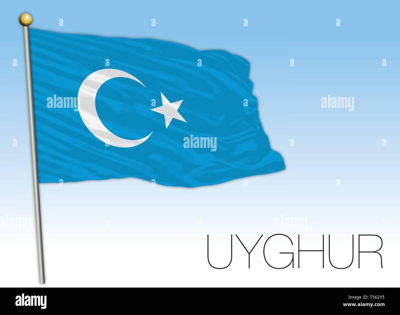 Uyghur nationalism flag, vector illustration - Stock Vector