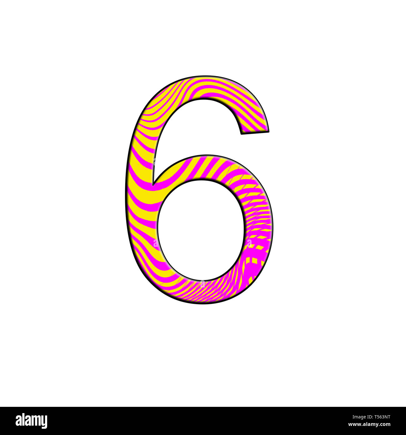 illustration painted pink and yellow color , elements design, number 6 - Stock Image