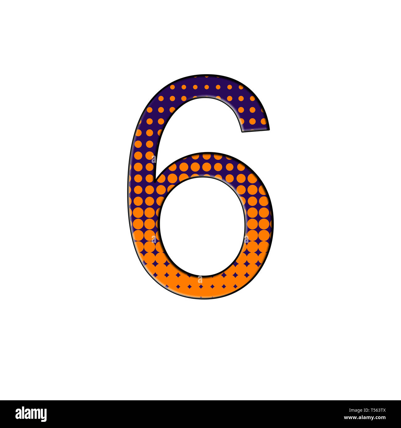 Number 6 illustration on isolated white background. Halftone duotone gradient. - Stock Image