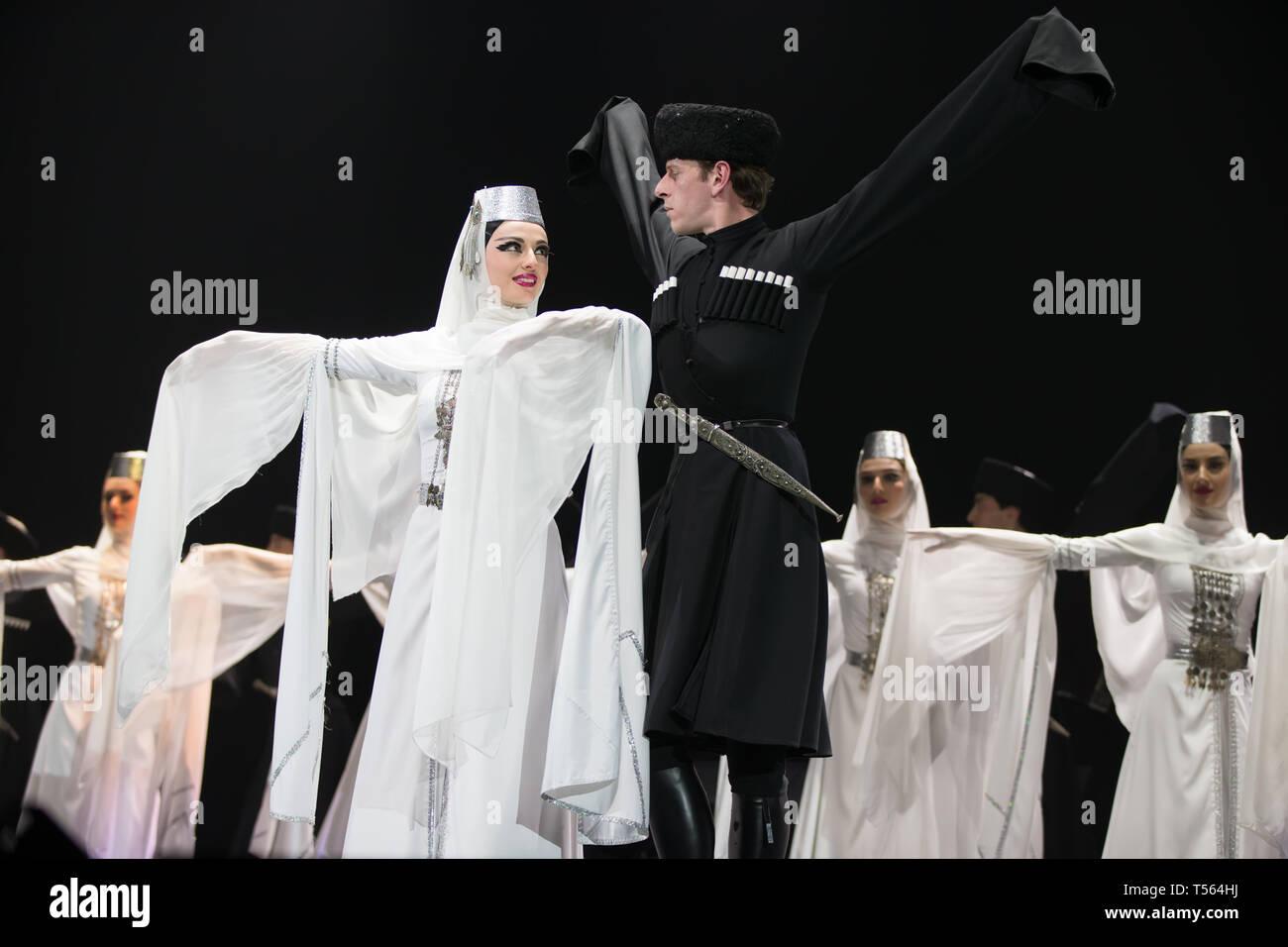 Belarus, Gomel, February 27, 2018. Concert hall. Speech of the national Georgian ballet Sukhishvili.Georgian male and female dancers perform national  - Stock Image