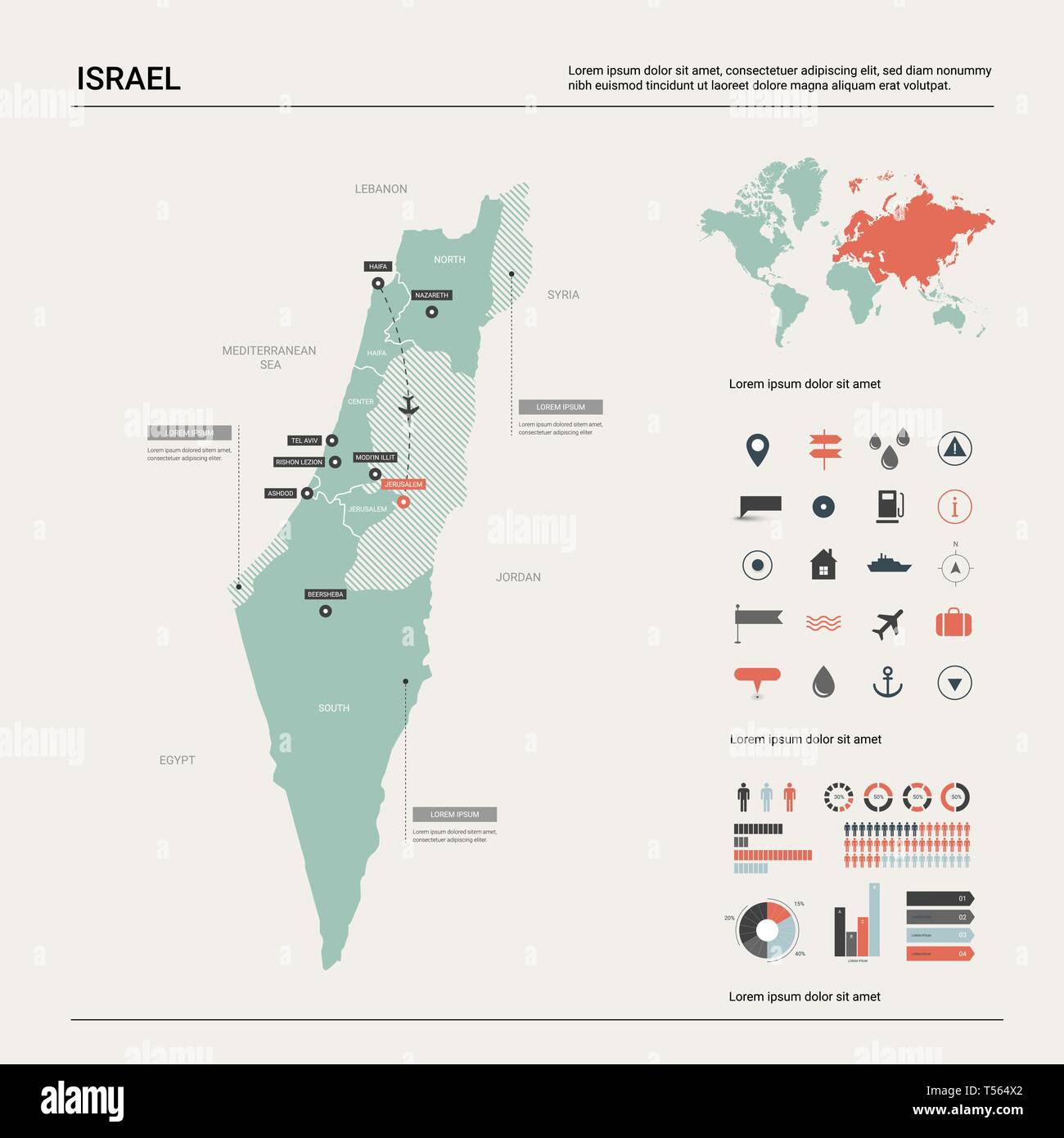 Vector map of Israel. High detailed country map with ...