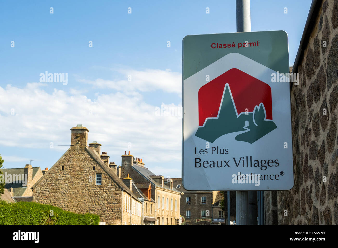 Barfleur, France - August 29, 2018: The sign indicates that Barfleur is Ranked among the most beautiful villages in France. - Stock Image