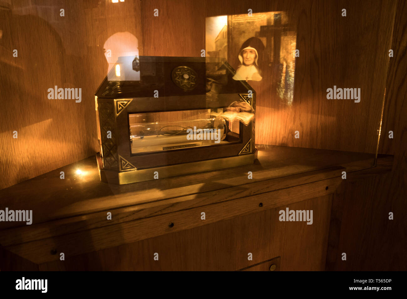 Barfleur, France - August 29, 2018: Relic of St. Mary Magdalene Postel in the Church of St. Nicholas in Barfleur. Normandy, France - Stock Image
