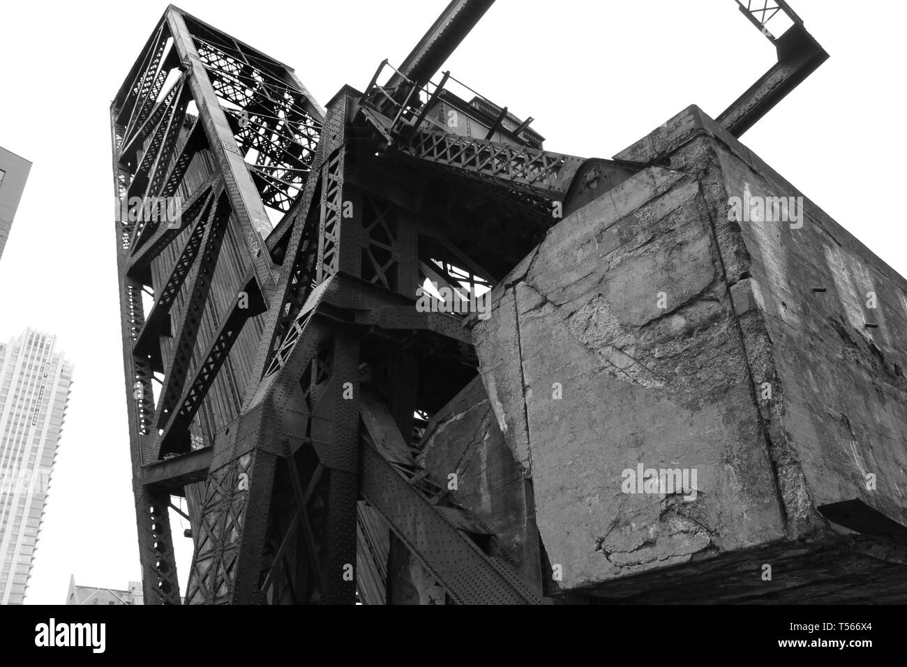 The Carroll Ave Railroad bridge, an abandoned bridge locked in a raised position over Wolf Point in the Loop, Chicago, Illinois - Stock Image