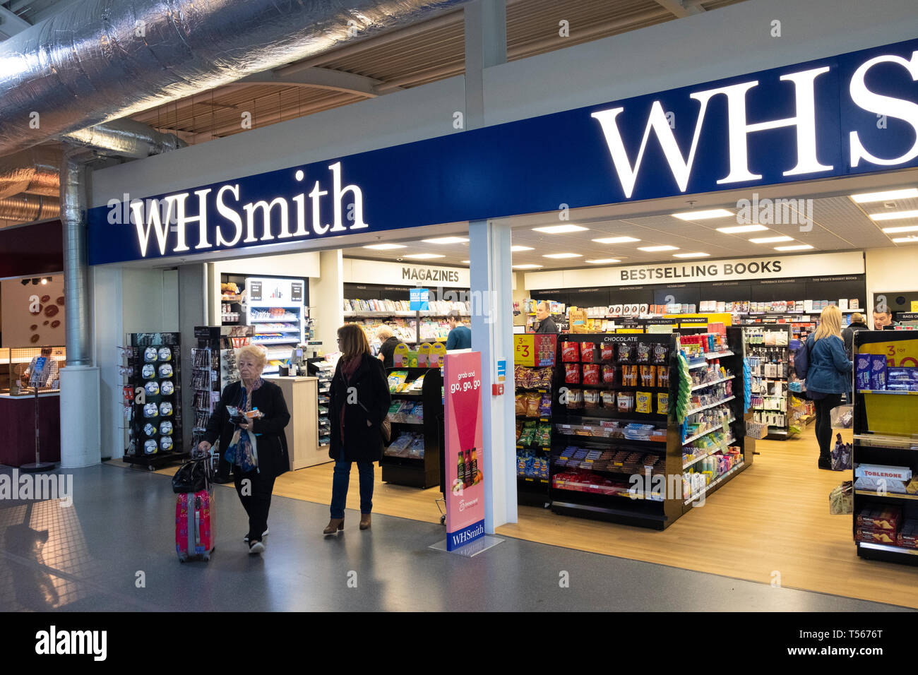 Bournemouth Airport departure hall interior WH Smith shop Stock Photo