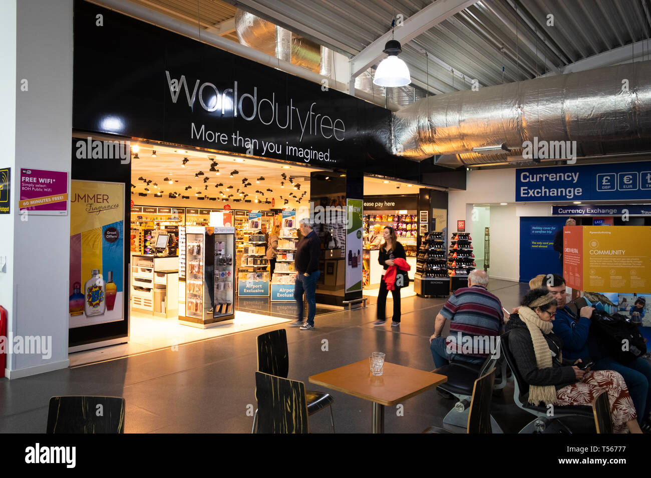 Bournemouth Airport departure hall interior World of Duty Free shop Stock Photo