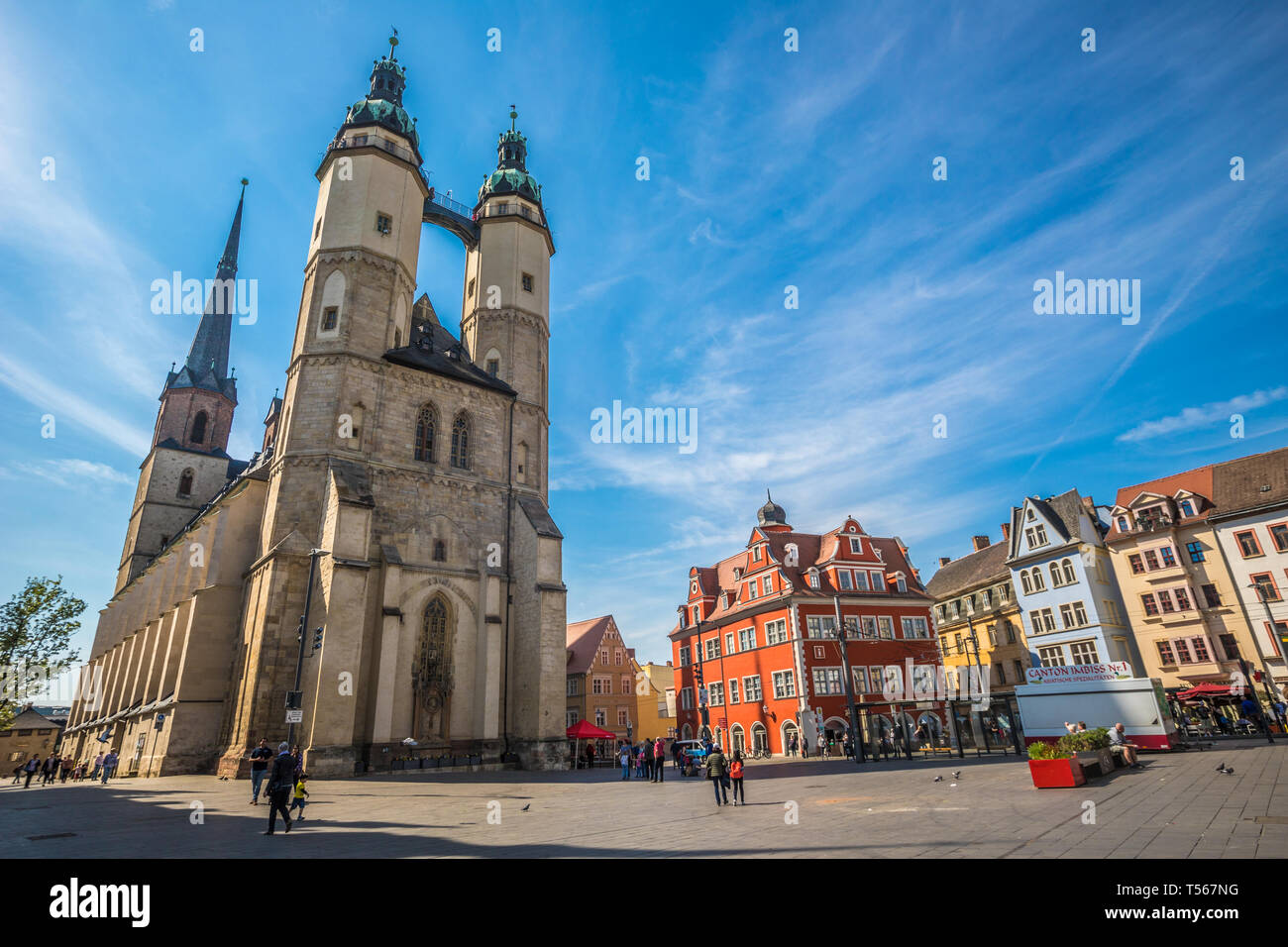 The church in Halle Saale Germany Stock Photo