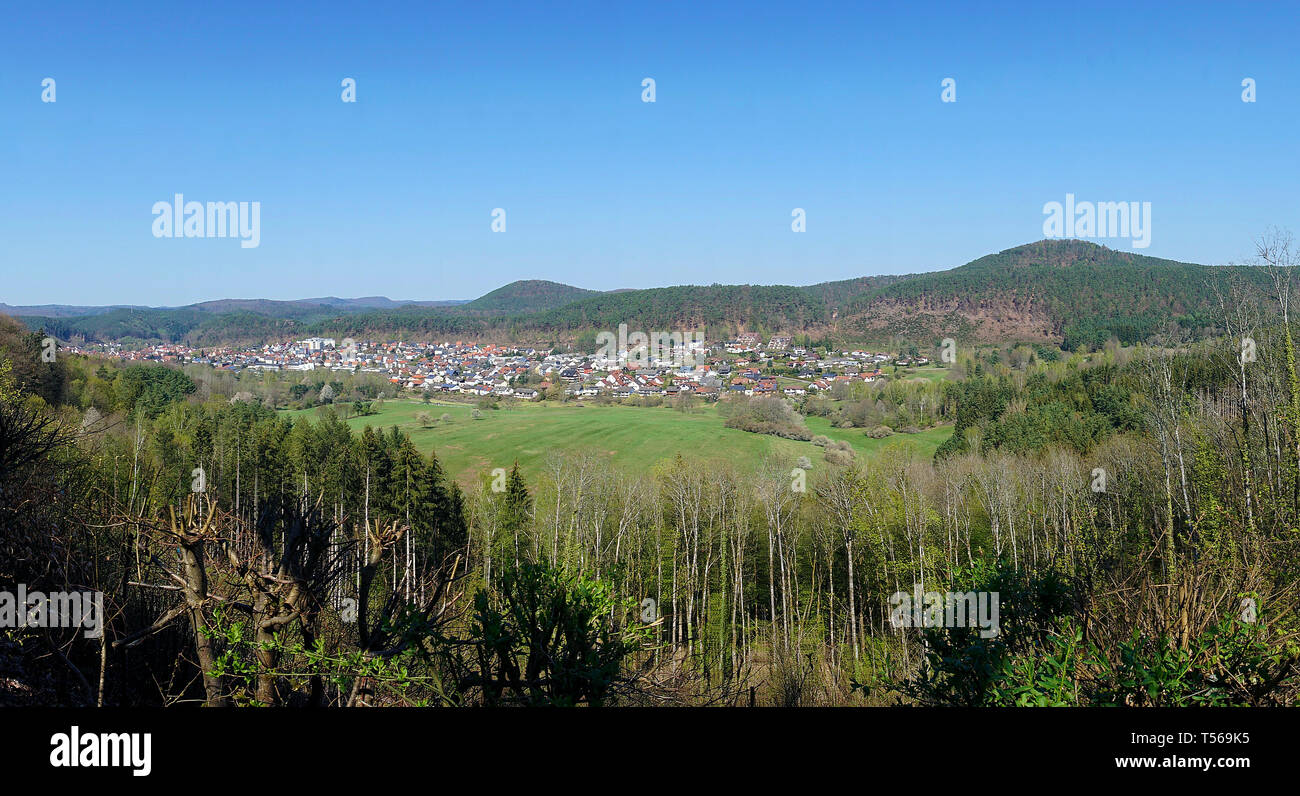 The village Dahn at Palatinate forest, Wasgau, Rhineland-Palatinate, Germany - Stock Image