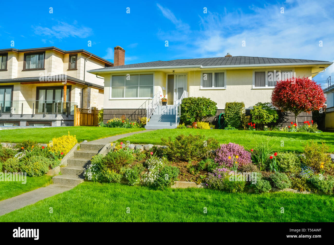 Average Family Residential House With Landscaped Yard On Blue Sky