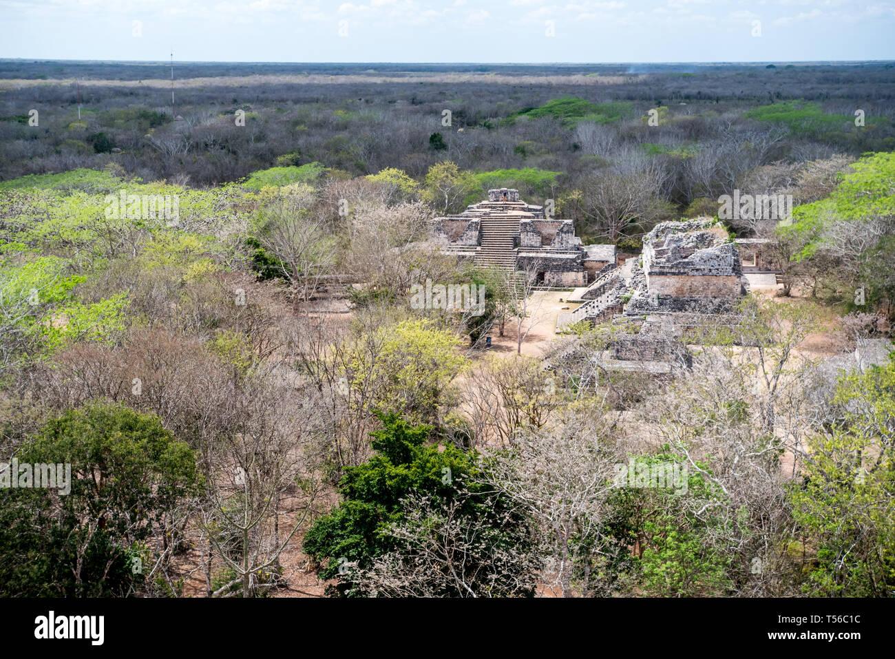 Mayan Ruins at Ek Balam from top  of the Acropolis - Stock Image