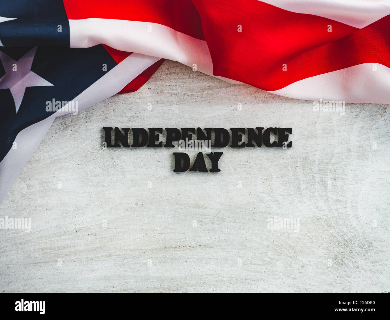 Beautiful Greeting Card For Independence Day Wooden Letters With A