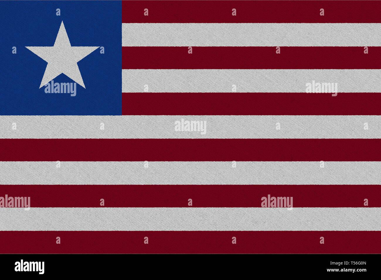 Liberia fabric flag. Patriotic background. National flag of Liberia - Stock Image