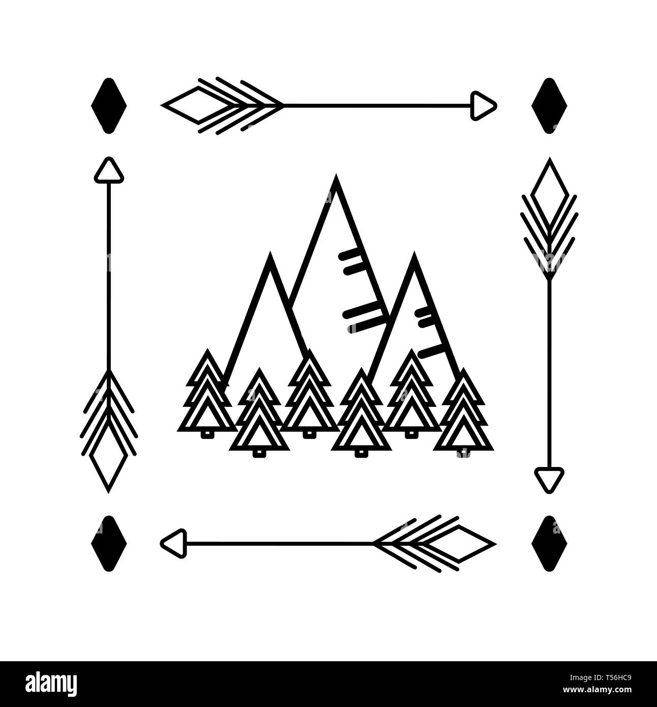 Mountains and forest. Monochrome linear drawing in minimalist style. Sticker, logo, print clothes, bag, decal glass. Vector illustration with trees, p - Stock Vector