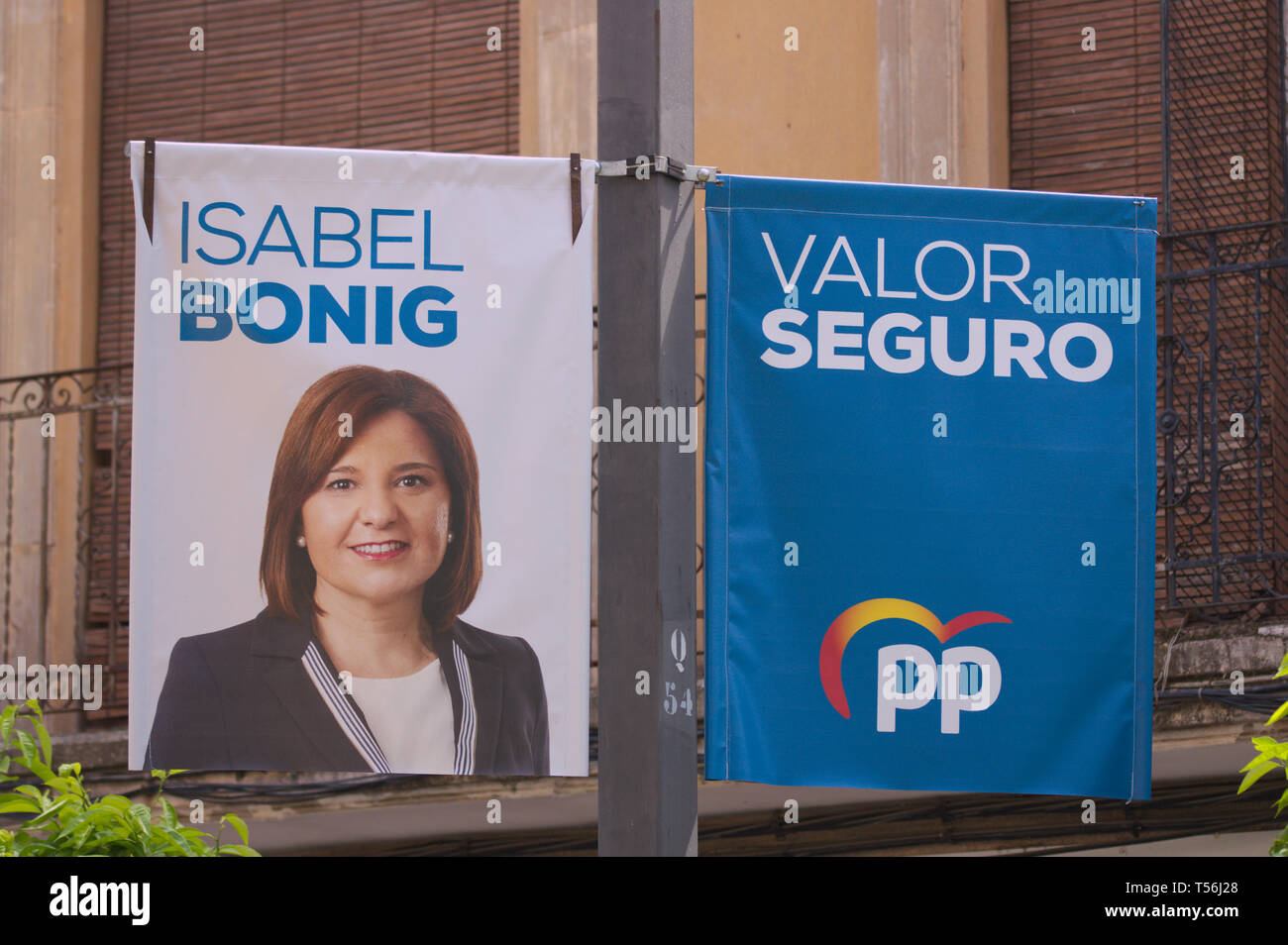 2019. April. Spain. Banners of electoral propaganda 'Popular Party' for elections to Congress where the portrait of his candidate for the presidency o - Stock Image