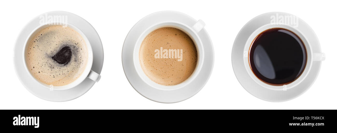 three various coffee cup top view set isolated on white - Stock Image