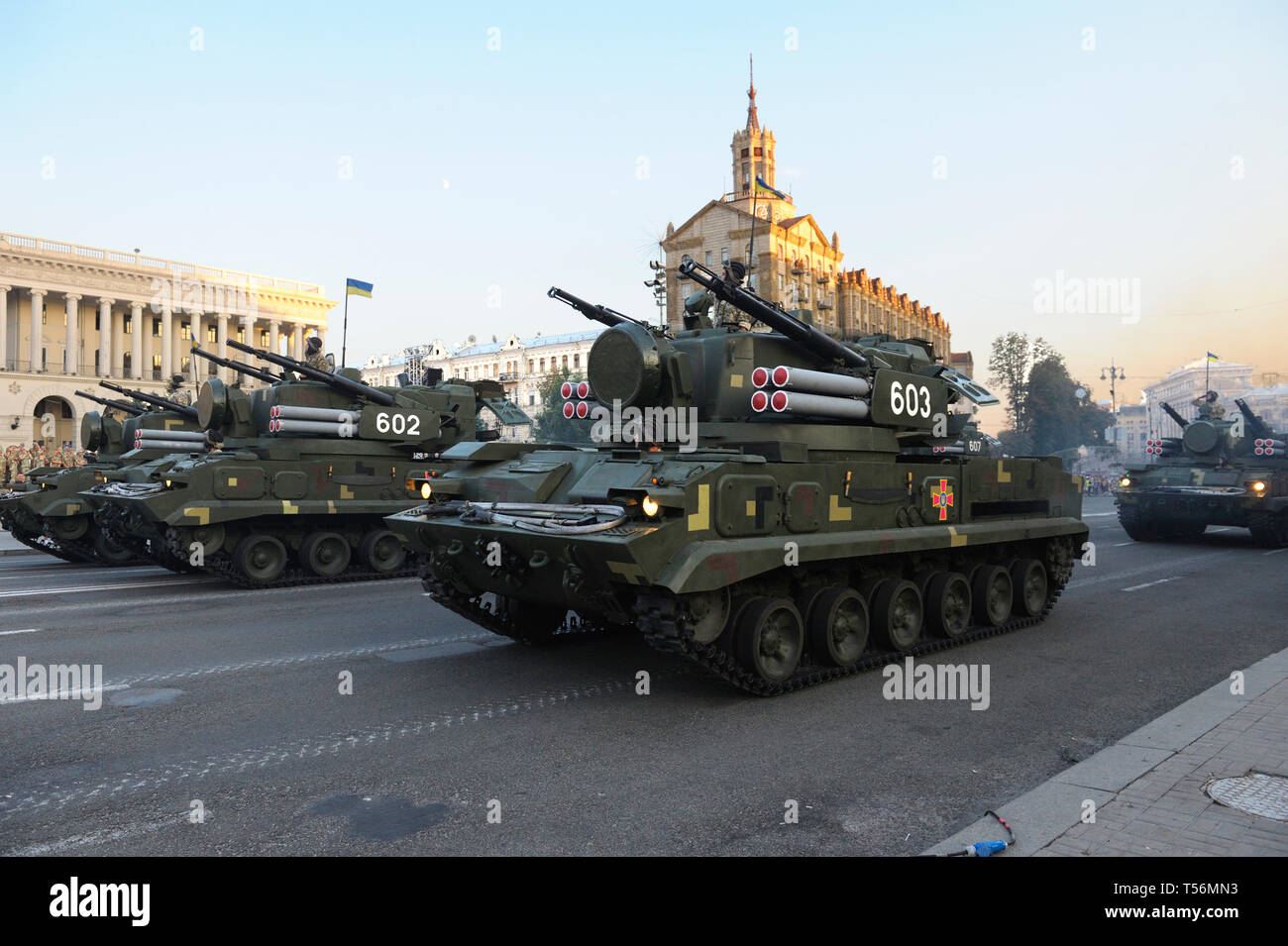 Ukrainian mobile missile system launcher driving. Military parade dedicated to Day of Independence of Ukraine. August 23, 2018. Kiev, Ukraine - Stock Image