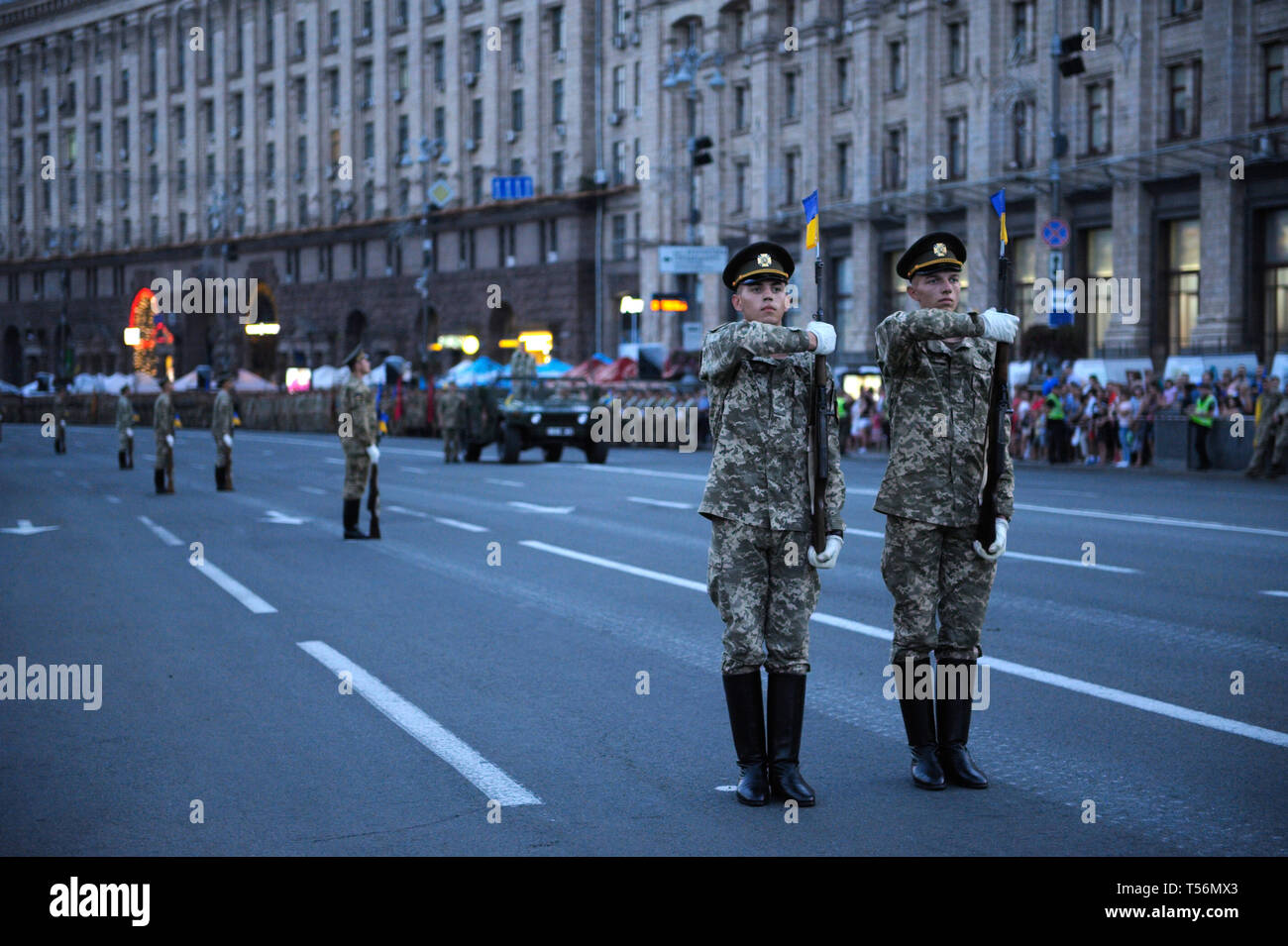 Honor guards standing at attention during a rehearsal of military parade dedicated to Day of Independence of Ukraine. August 23, 2018. Kiev,Ukraine Stock Photo