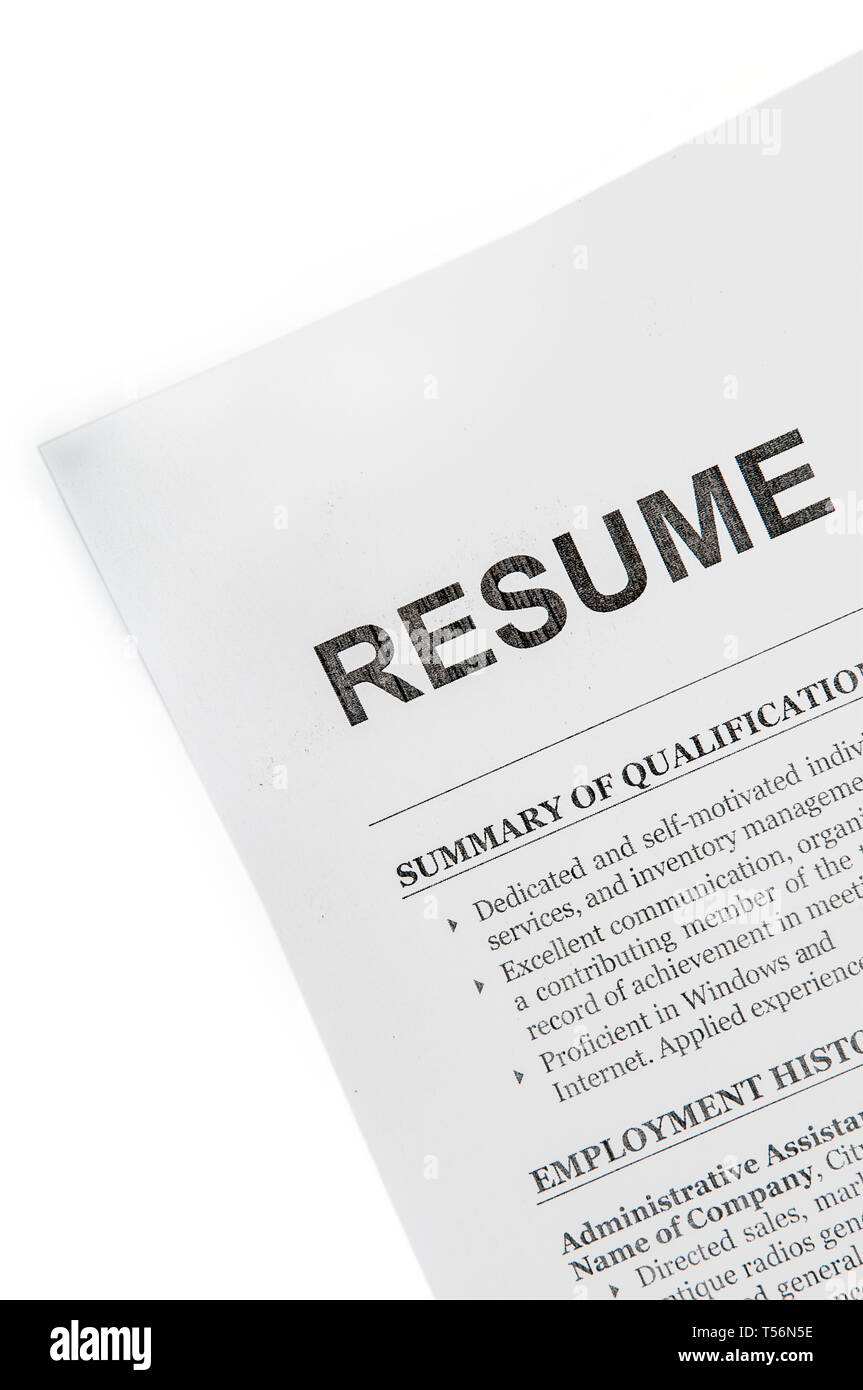 Resume Rude Paper Document Top View Isolated With Clipping Path