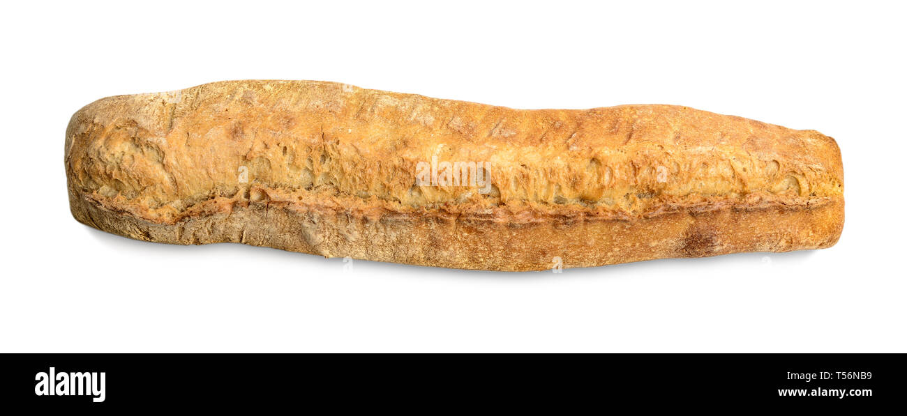 Hand made fresh baked baguette isolated on white background with clipping path, top view - Stock Image