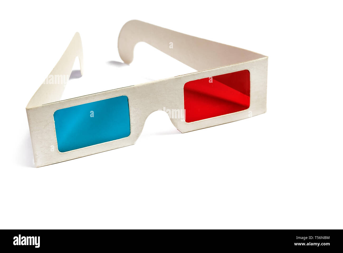 Side view of a pair of 3D glasses Isolated on white background. Copy space for your text - Stock Image