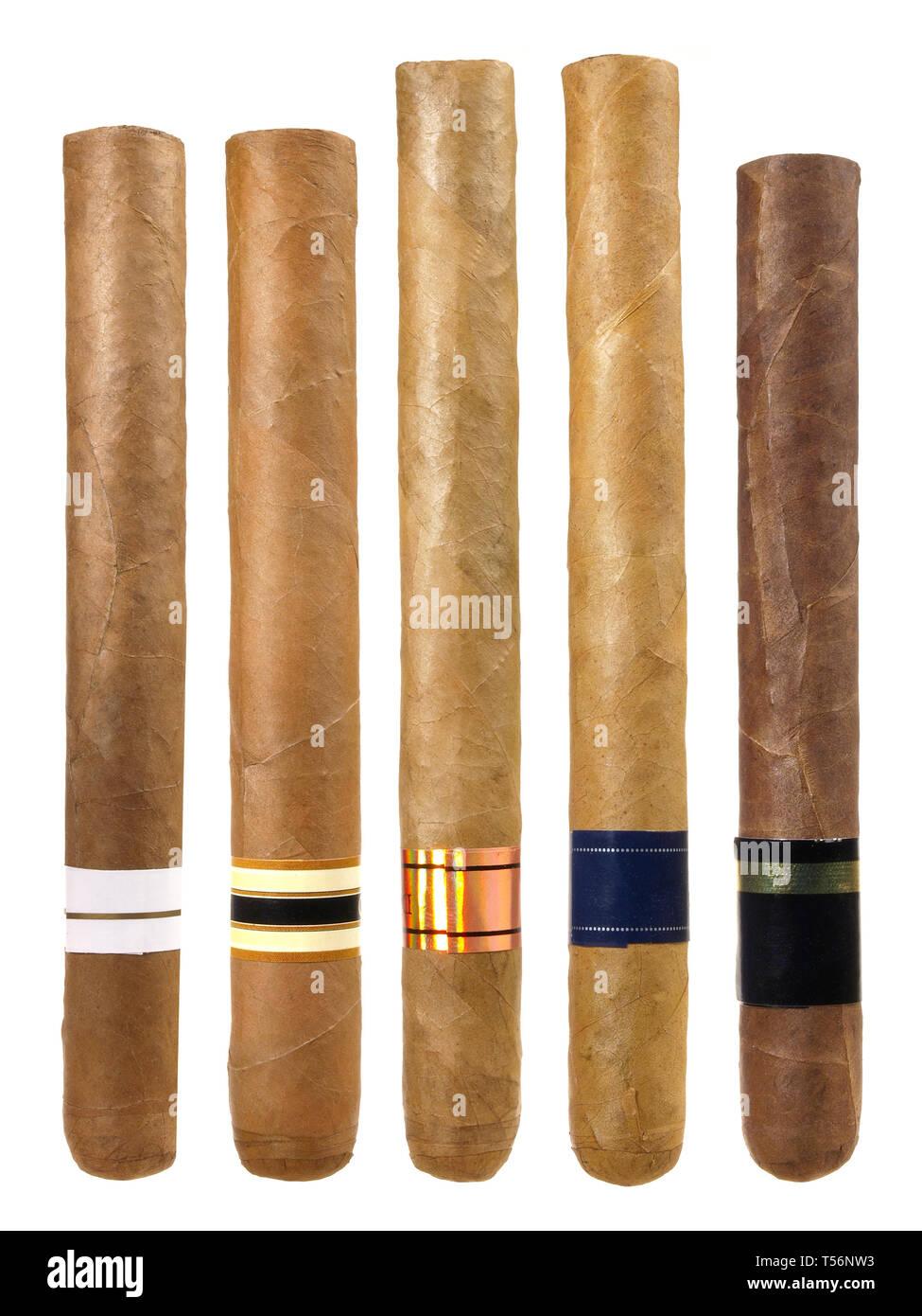 Various Cigars on white Background - Stock Image