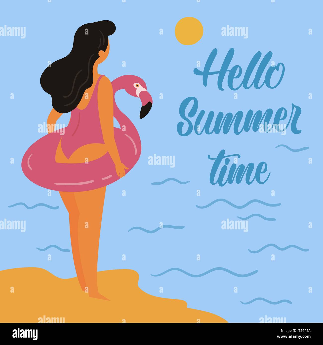 Hello summer. Girl and inflatable pink flamingo - Stock Vector