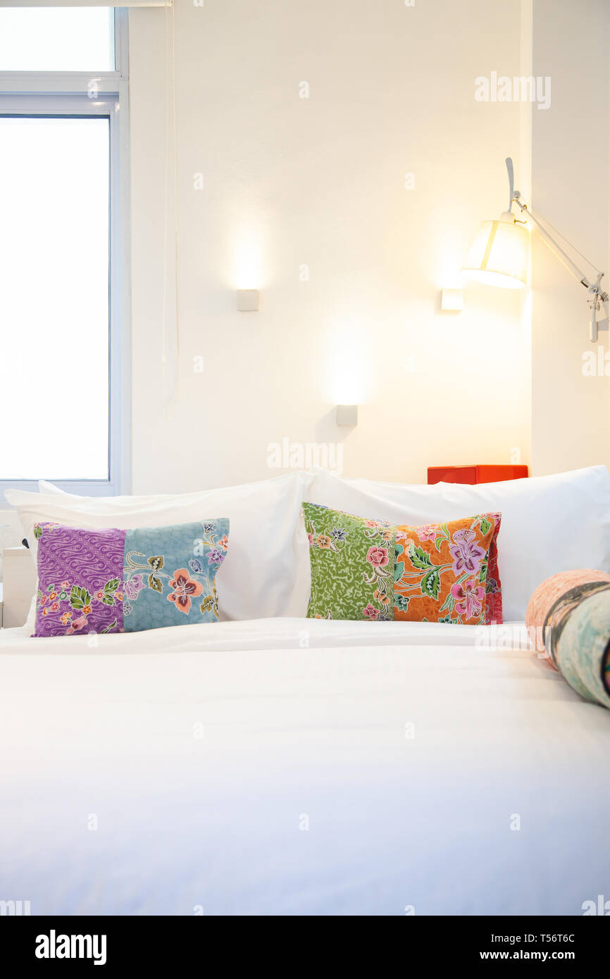Bed With Colorful Pillows Cozy Bedroom Stock Photo Alamy
