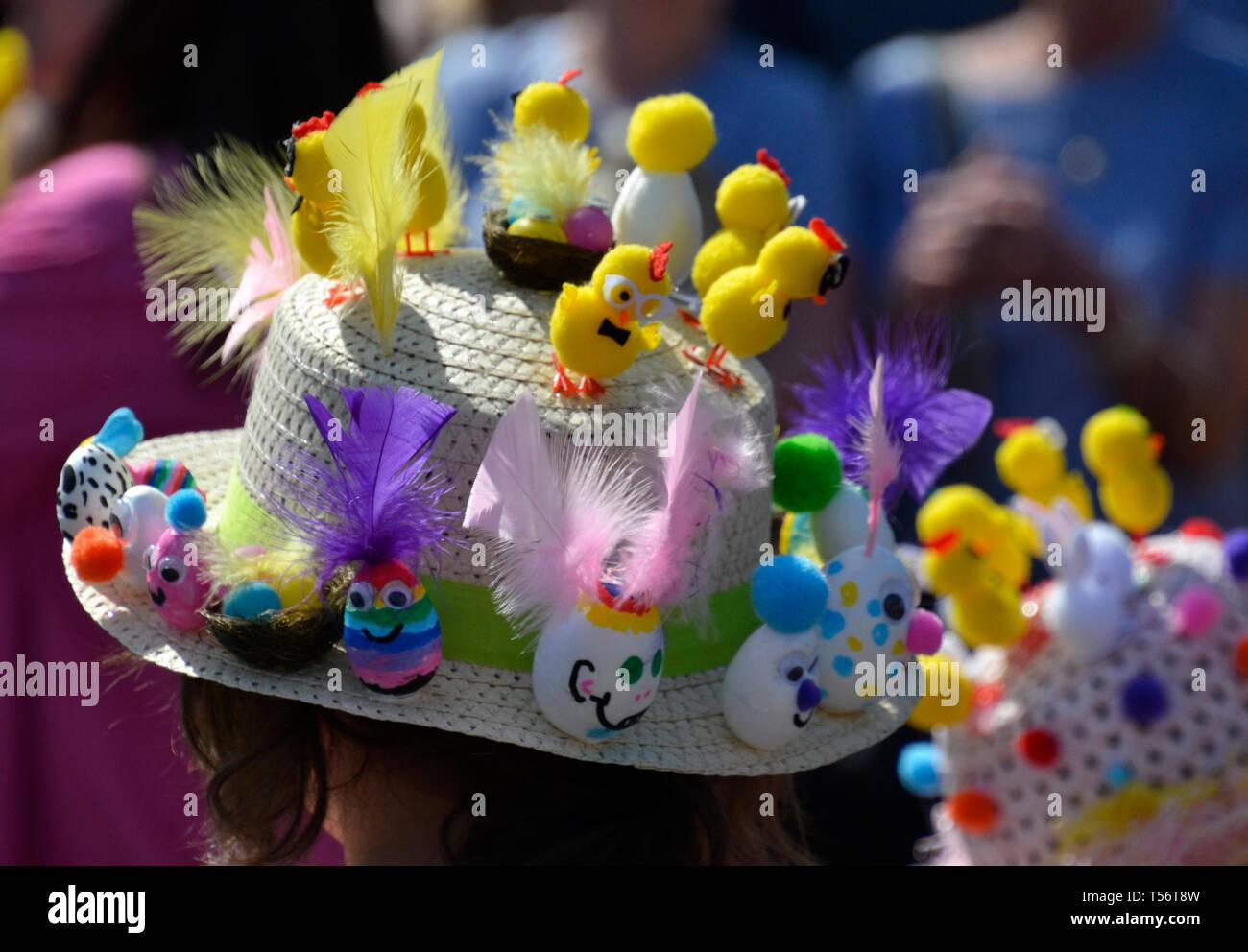 Easter Bonnet Parade 2019 at Battle Market Square, Battle, Sussex, UK Stock Photo