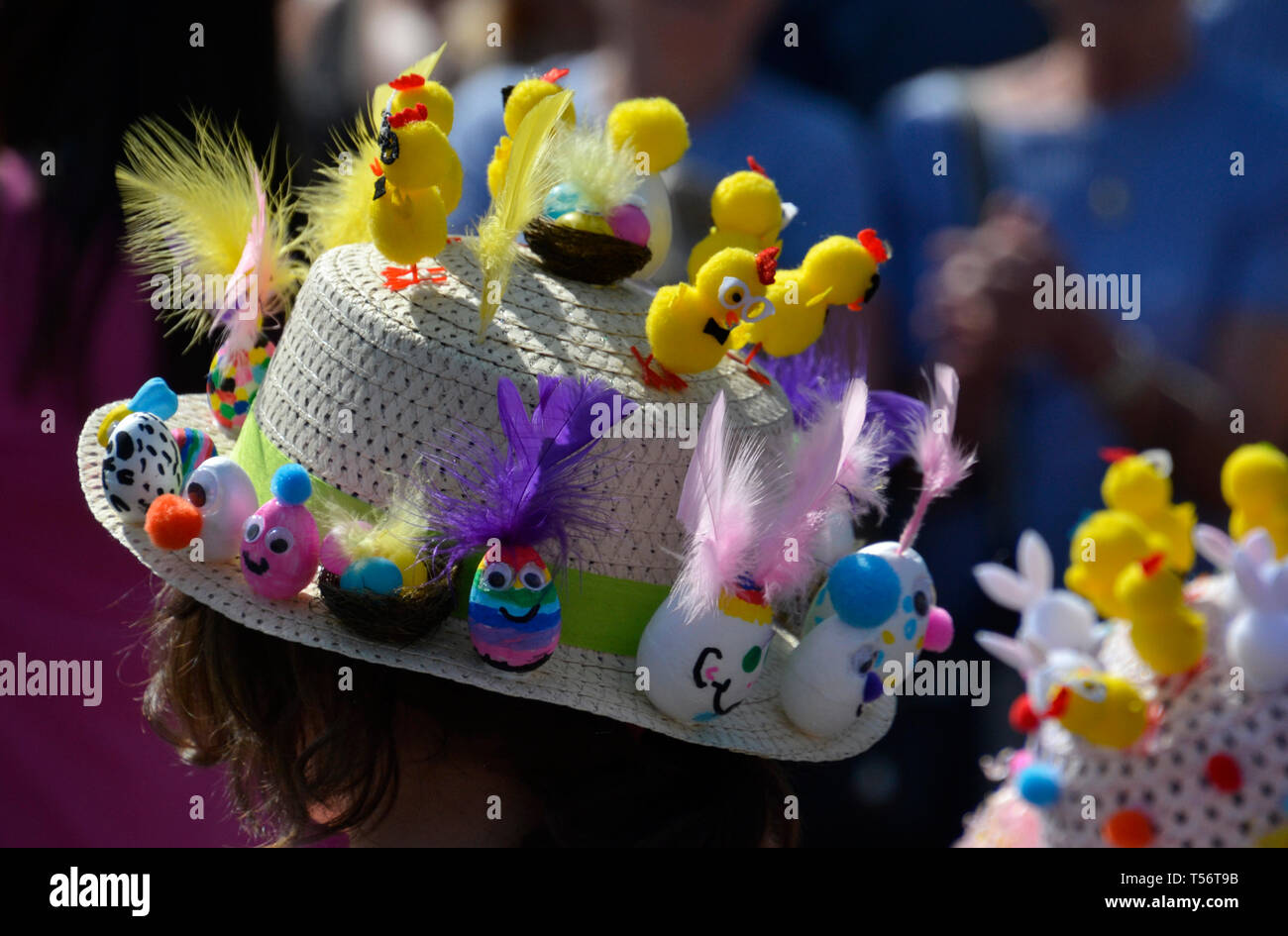 Easter Bonnet Parade 2019 at Battle Market Square, Battle, Sussex, UK Stock Photo
