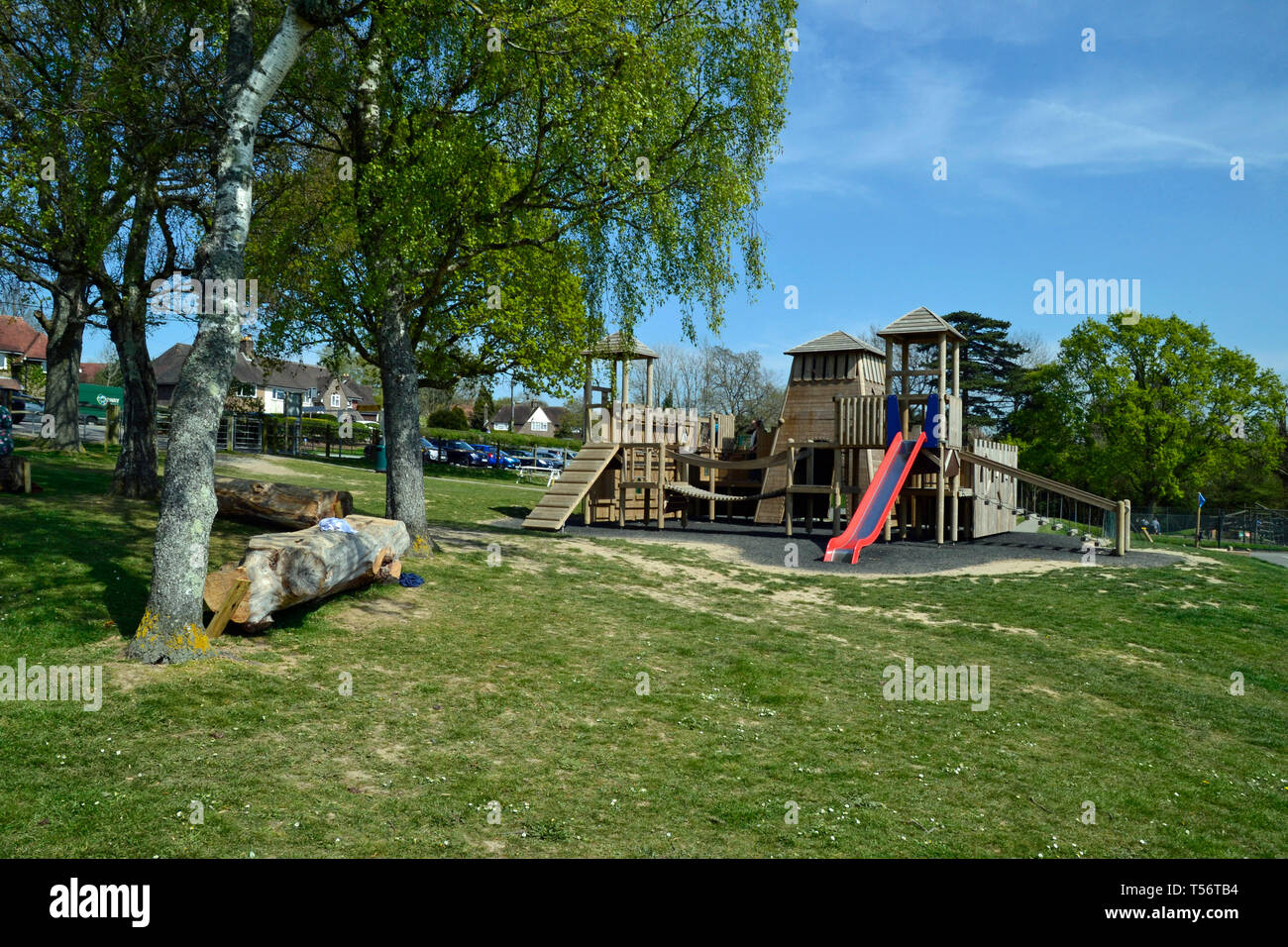 Castle play equipment in Battle Recreation Ground, Battle, East Sussex, UK Stock Photo
