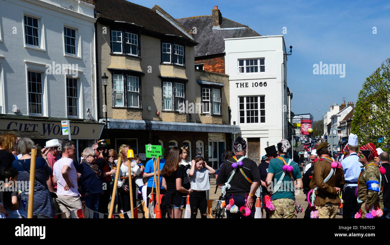 Teams taking part in the annual Good Friday Marbles Competition in fancy dress in Battle Market Square, Battle, East Sussex, UK Stock Photo