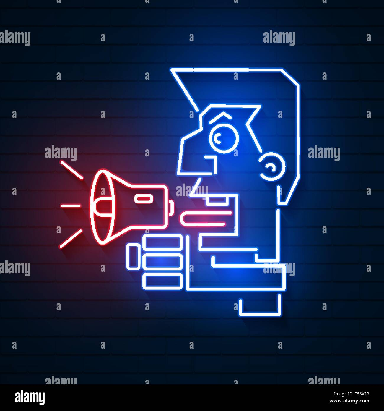 Male Promoter With A Megaphone In The Hands Of A Campaigning Politician. Vector Logo - Stock Vector