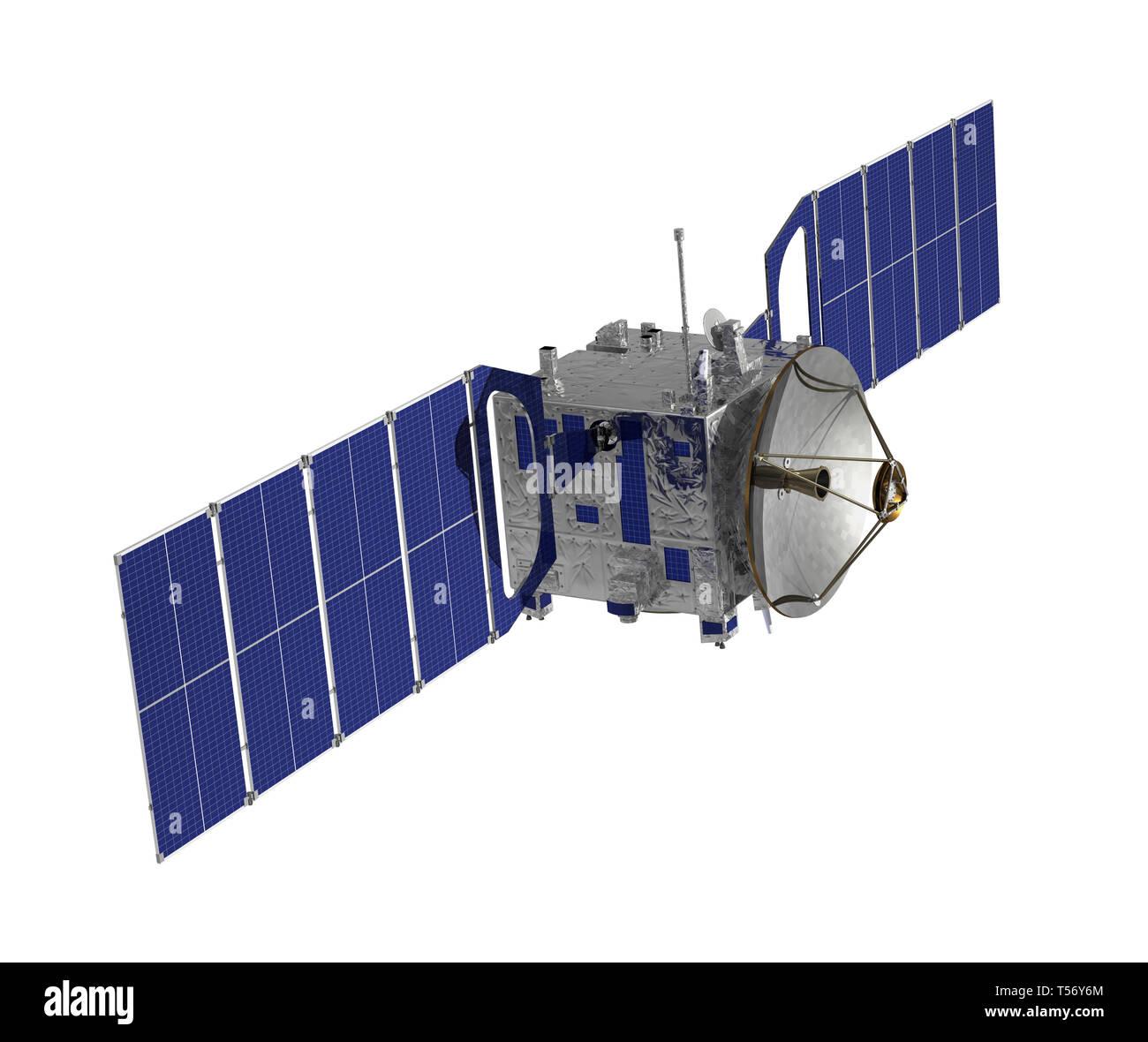 Communication Space Satellite Isolated On White Background. 3D Illustration. - Stock Image