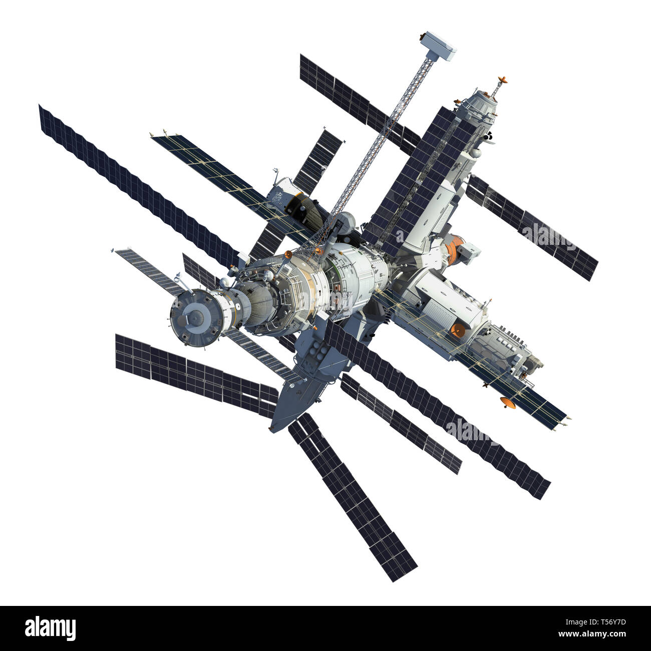 Russian Space Station Isolated Over White Background. 3D Illustration. - Stock Image