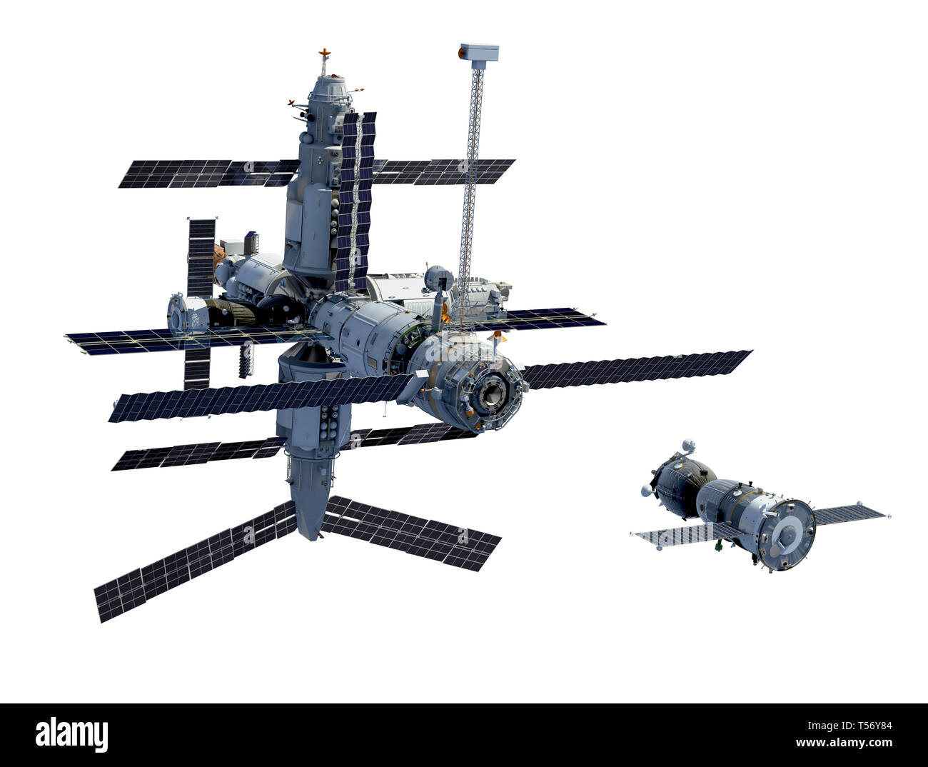 Space Station And Spacecraft Isolated On White Background. 3D Illustration. - Stock Image