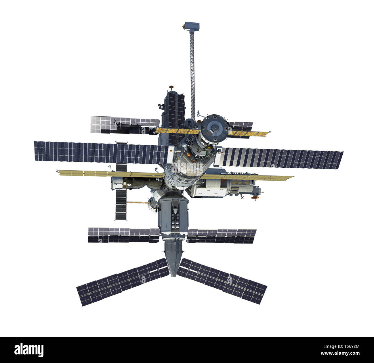 Russian Space Station Isolated On White Background. 3D Illustration. Stock Photo