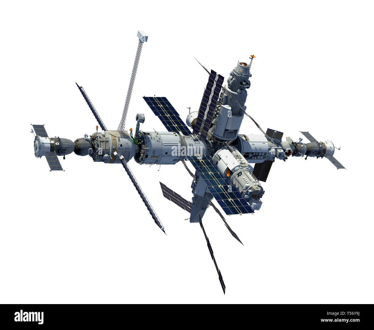 Space Station Isolated On White Background. 3D Illustration. - Stock Image