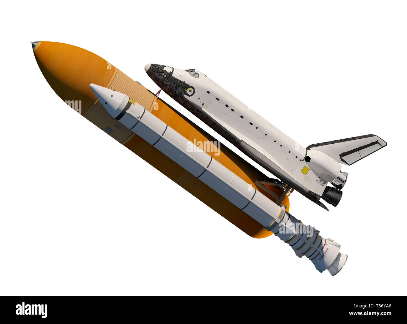 American Space Shuttle Isolated On White Background. 3D Illustration. Stock Photo