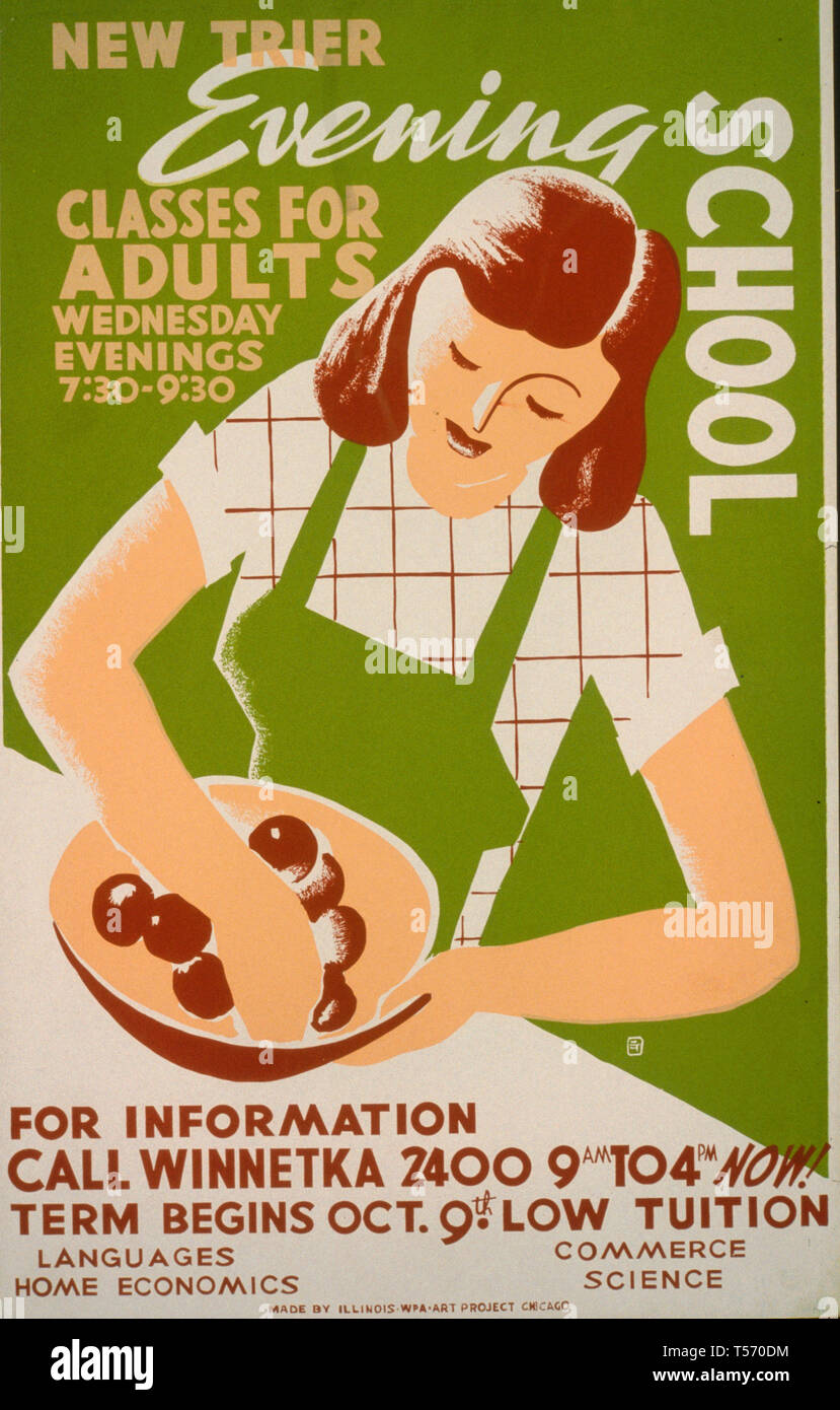 New Trier evening school Classes for adults, Wednesday evenings 7:30 - 9:30. WPA Poster, circa 1938 - Stock Image