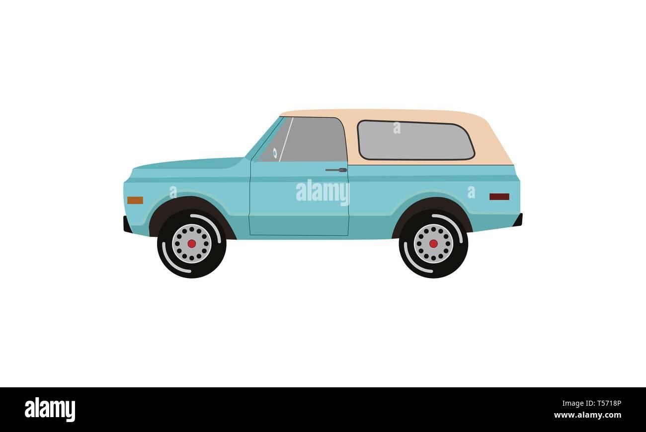 Classic pickup truck. Flat vintage retro truck logo - Stock Vector
