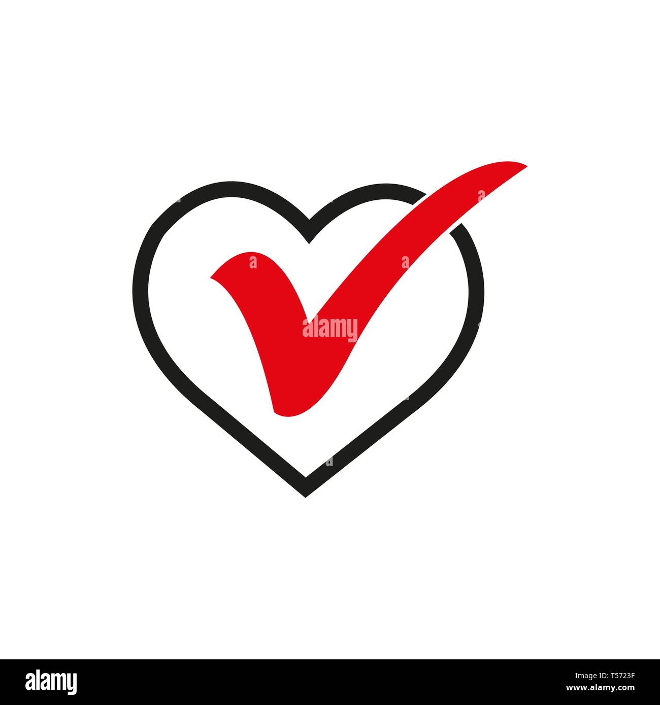 Heart Sign Web Icon With Check Mark Symbol Vector Illustration Design Element Stock Vector Image Art Alamy