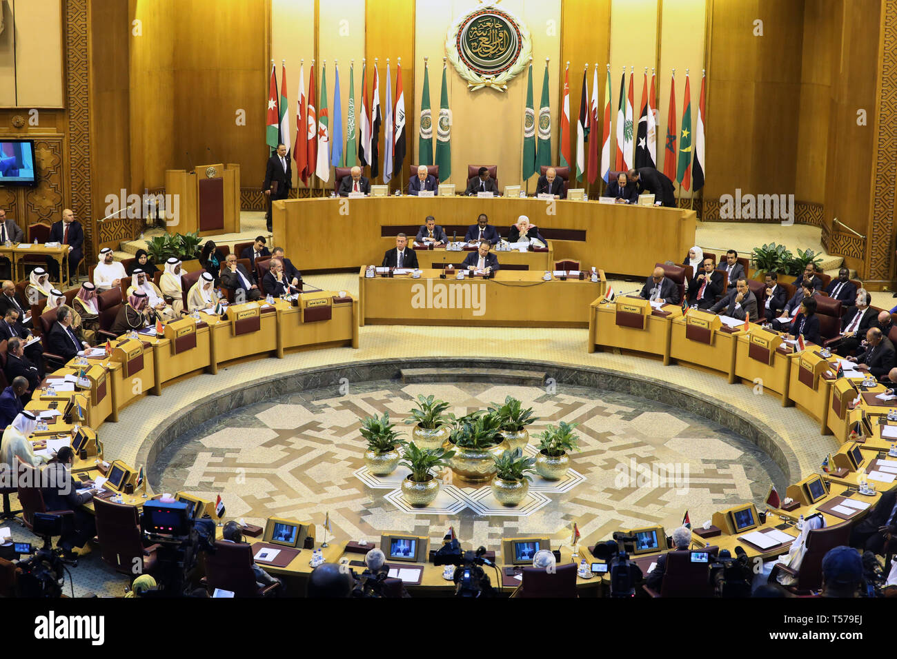 Cairo, Egypt. 21st Apr, 2019. Representatives attend an emergency meeting of Arab foreign ministers at the Arab League headquarters in Cairo, Egypt, April 21, 2019. Arab foreign ministers said on Sunday that their states will not accept any deal related to the Palestinian cause that does not conform with the international references. Credit: Ahmed Gomaa/Xinhua/Alamy Live News - Stock Image