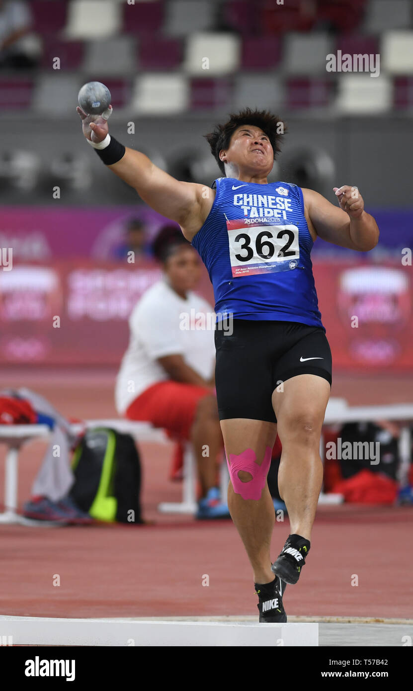 Doha, Qatar. 21st Apr, 2019. Lin Chia-Ying of Chinese Taipei competes in the women's shot put final during 23rd Asian Athletics Championships at Khalifa International Stadium in Doha, capital of Qatar, April 21, 2019. Lin Chia-Ying took the sixth place with 15.32m. Credit: Wu Huiwo/Xinhua/Alamy Live News - Stock Image