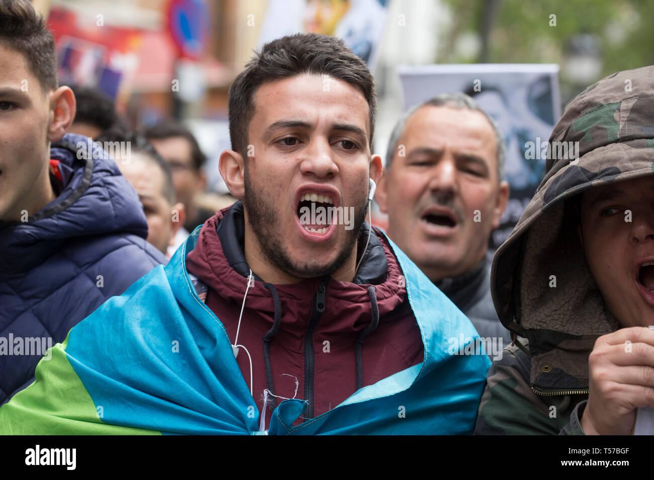 Madrid, Spain  21st Apr, 2019  Demonstrator seen wrapped in