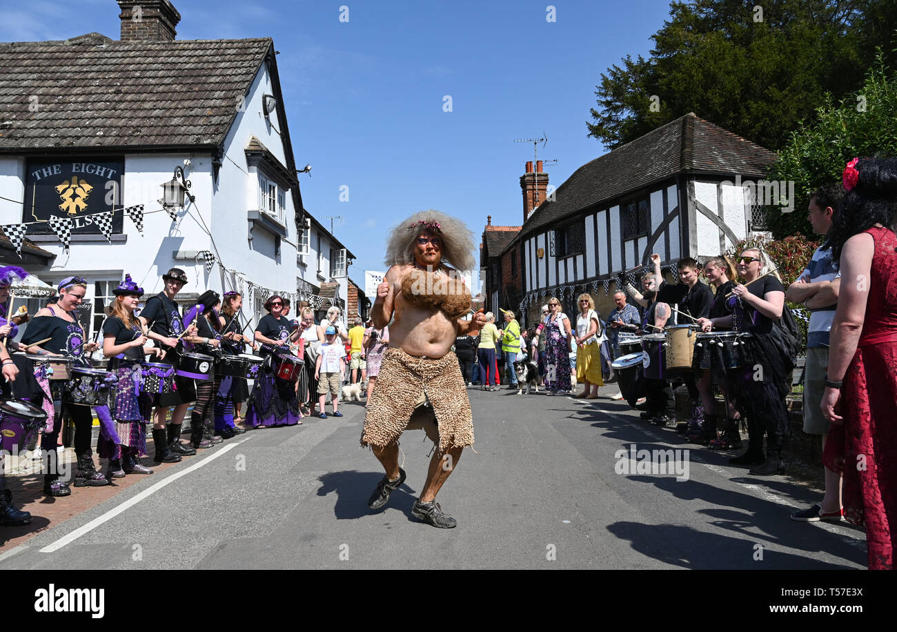 Bolney Sussex, UK. 22nd Apr, 2019. Competitorsenjoy a dance before taking part in the annual Bolney Pram Race in hot sunny weather . The annual races start and finish at the Eight Bells Pub in the village every Easter Bank Holiday Monday Credit: Simon Dack/Alamy Live News Stock Photo